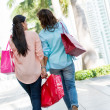 Stock Photo: Female shoppers walking outdoors