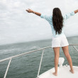 Woman enjoying sailing - Stock Photo