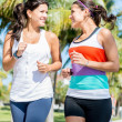 Women running outdoors — Stock Photo