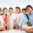Group of friends on a boat — Stock Photo