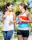 Women running outdoors — Stock Photo