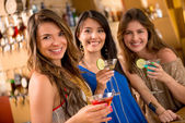 Gorup of girls having drinks — Stock Photo