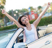 Happy woman with her new car — Stock Photo