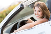 Woman on a road trip — Stock Photo