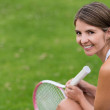 Happy tennis player — Stock Photo