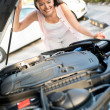 Woman having problems with her car - 