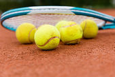 Tennis racket with ball — Stock Photo