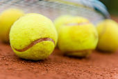 Tennis balls at the court — Stock Photo