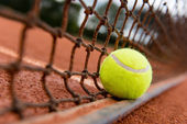 Tennis ball on the net — Stock Photo
