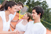 Tennis players handshaking — Stock Photo