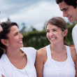 Happy tennis players — Stock Photo