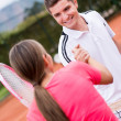 Tennis handshake - Stock Photo