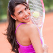 Beautiful woman playing tennis - Foto Stock