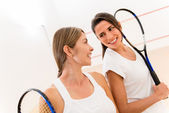 Female squash players — Stock Photo