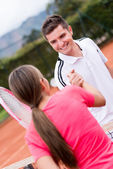 Tennis handshake — Stock Photo