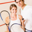 Stock Photo: Couple of squash players