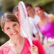 Woman at the tennis court - Stockfoto