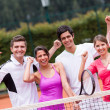 Excited tennis players — Stock Photo