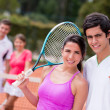 Royalty-Free Stock Photo: Tennis couple playing doubles