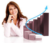 Business woman with a growth graph — Stock Photo