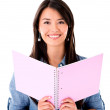 Foto Stock: Female student with a notebook