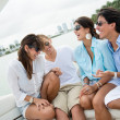 Friends having fun sailing — Stock Photo
