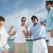 Friends on a yacht — Stock Photo