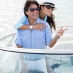 Happy couple on a yacht — Stock Photo