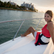 Stock Photo: Woman in a yacht