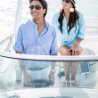 Romantic couple on a boat — Stock Photo