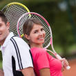 Couple of tennis players - Stock Photo