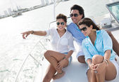 Friends sailing on a boat — Stock Photo