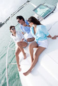 Relaxing on a boat — Foto Stock
