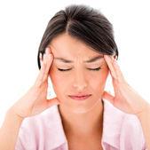 Woman with a headache — Stock Photo