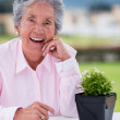 Stock Photo: Elder womwith plant