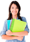 Woman holding notebooks — Stock Photo