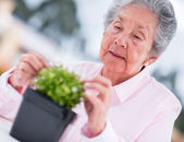 Retired woman gardening — Foto Stock