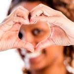 Woman making a heart — Stock Photo