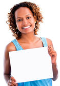 Black woman holding a banner — Stock Photo