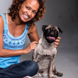 Stock Photo: Happy woman with a dog