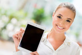 Business woman with tablet computer — Stock Photo