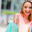 Happy shopping girl — Stock Photo
