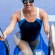 Female swimmer in a pool — Stock Photo