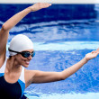 Synchronized female swimmer — Stock Photo #26633687