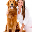 Woman with a beautiful dog — Stock Photo