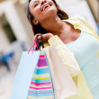 Very happy shopping woman — Foto Stock