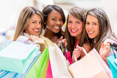 Group of shopping women — Stock Photo