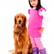 Girl with a beautiful dog — Stock Photo