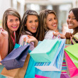 Stock Photo: Happy group of female shoppers