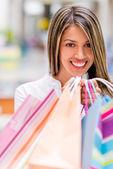 Happy shopping kvinna — Stockfoto